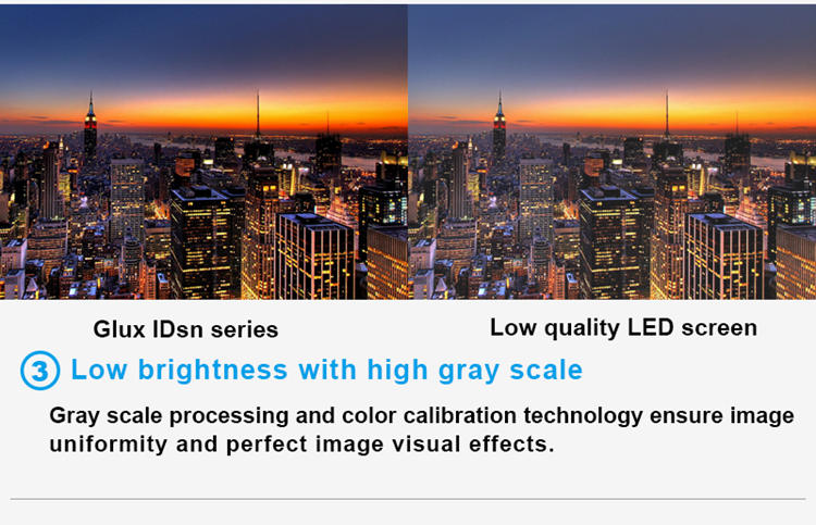 Glux LED IDsn series P3.9 LED display rental--low brightness with high gray scale
