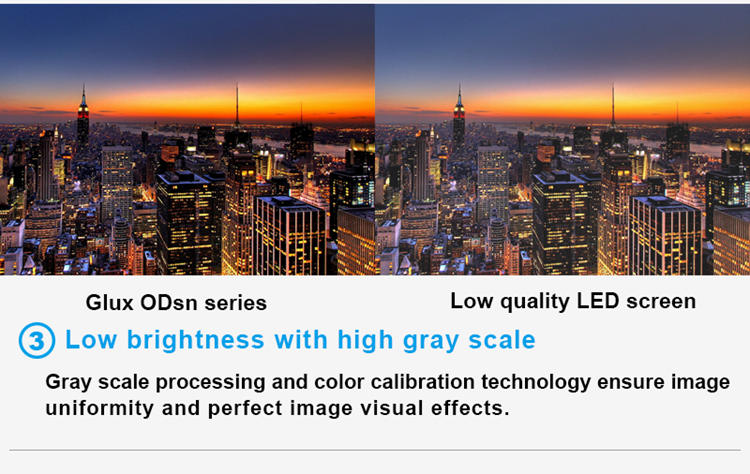 Glux LED ODsn series LED display screen hire--low brightness, high gray scale