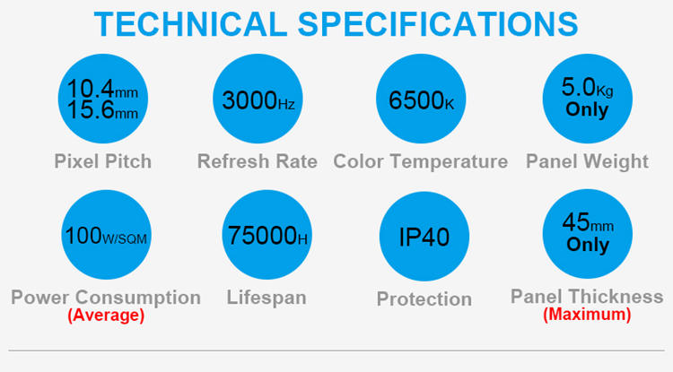 Glux MOtn P10 rental LED display technical specifications