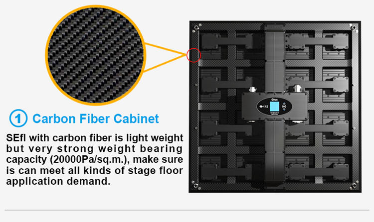 Glux LED SEfl series stage dance floor screen--carbon fiber cabinet